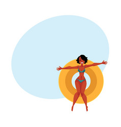 young black girl woman in bikini floating on vector image