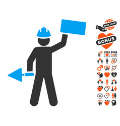 Builder with brick icon with dating bonus vector