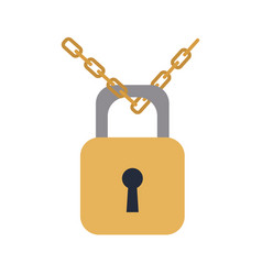 Padlock chain security protection image vector