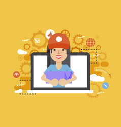 peddler parcels carrier woman vector image vector image
