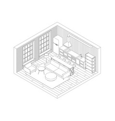 line living room interior vector image