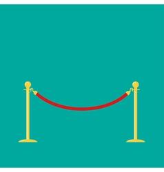 Red rope golden barrier stanchions turnstile green vector image