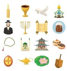Religion icons set cartoon style vector image