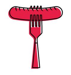 sausage on fork fresh food image vector image