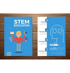 Stem education book cover and flyer template vector
