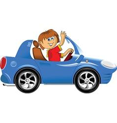 Teen driving car vector image vector image