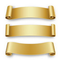 three holiday golden ribbons for birthday vector image vector image