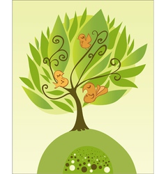 tree with birds vector image vector image