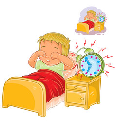 little child woke up in the morning vector image