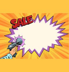 Sale comic cloud science fiction shot of a blaster vector