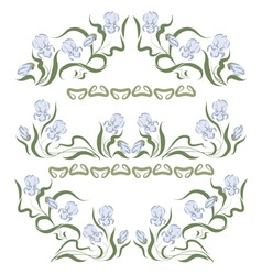 vignette with blue irises vector image