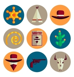wild west flat icons set vector image vector image