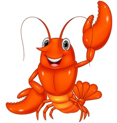 Cartoon lobster waving on white background vector image