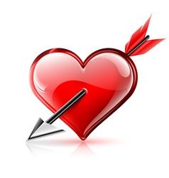 Glossy heart pierced by an arrow vector image vector image