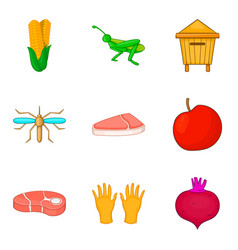 Meat procurement icons set cartoon style vector