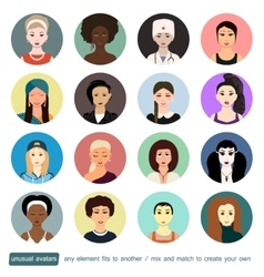 People unusual avatars collection Girls women in vector image