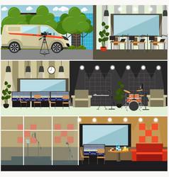 radio broadcast interior concept flat vector image vector image