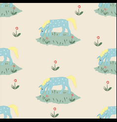 seamless pattern with funny hand drawn blue horse vector image