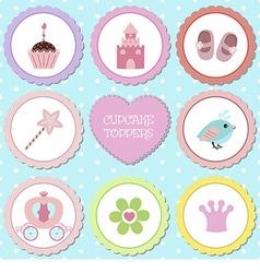 Tags with princess theme vector