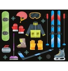 Winter sports equipment set- ski curling skates vector image vector image