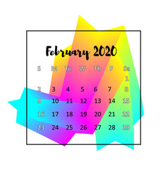 2020 calendar design abstract concept february vector image