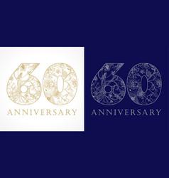 60 anniversary vintage silver gold vector