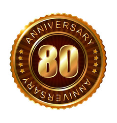 80 years anniversary golden brown label vector