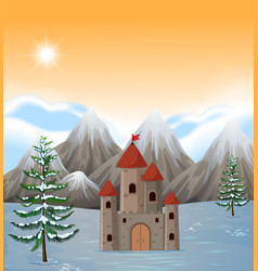a castle tower scene vector image
