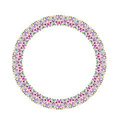 Abstract geometrical gravel mosaic round frame vector