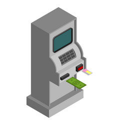 Atm isometry isolated cash machine financial vector