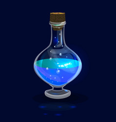 Blue aqua potion with bubbles vector