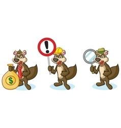 Brown Polecat Mascot with sign vector