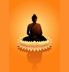 buddha meditating on water lotus flower vector image