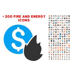 burn money icon with bonus power set vector image