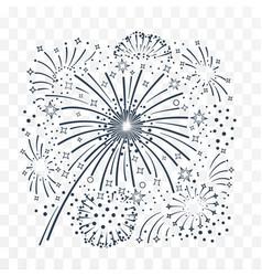 bursting fireworks black and white vector image