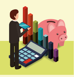 businessman holds mobile piggy bank calculator and vector image