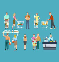Buyers in supermarket set vector