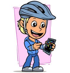 cartoon cyclist boy character with smartphone vector image