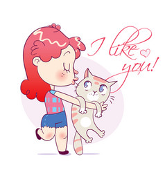 Cartoon girl kissing and strongly cuddling cat vector