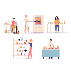 Cartoon people in pottery studio - set clay vector