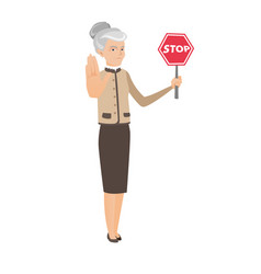 Caucasian business woman holding stop road sign vector