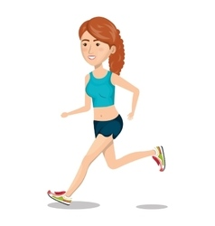 Character woman running sport icon vector
