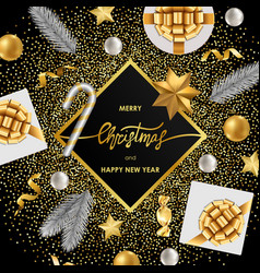 Christmas and new year luxury greeting card vector