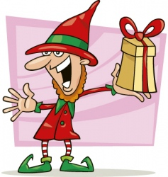 Christmas elf with special gift vector image