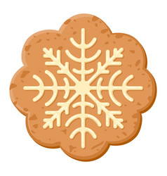 christmas oatmeal cookie icon sweet holiday vector image