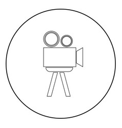 Cinematograph the black color icon in circle or vector