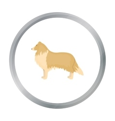 Collie icon in cartoon style for web vector