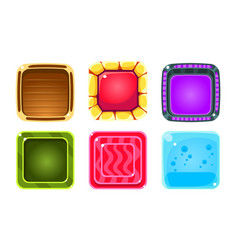 colorful glossy squares set shiny buttons game vector image