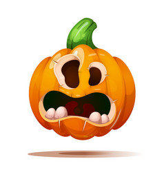 cute funny crazy pumpkin characters halloween vector image