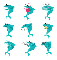 Cute sharks cartoon characters set funny fish in vector